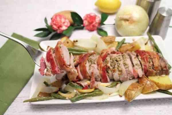 Bacon Wrapped Pork Loin serving | 2 Cookin Mamas