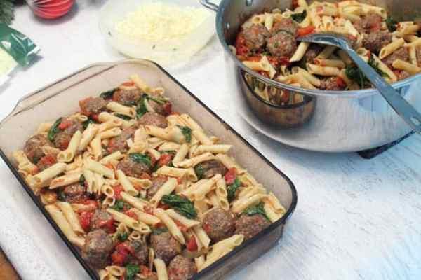 Smoky Mozzarella Meatball Casserole first layer | 2 Cookin Mamas