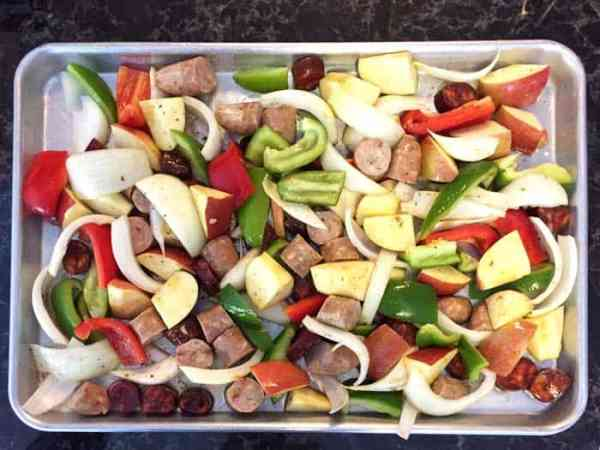 Chicken Apple Sausage Sheet Pan Dinner ready to cook | 2 Cookin Mamas