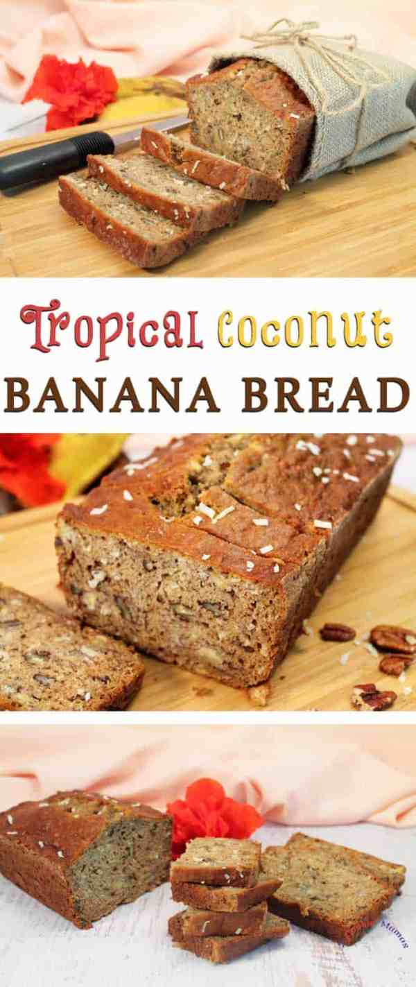 Tropical Coconut Banana Bread | 2 Cookin Mamas Bring the taste of the tropics into your home with tropical coconut banana bread. A quick bread filled with island flavors of bananas, rum & coconut.