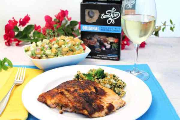 Grilled Cajun Salmon with Cucumber Lime Salsa dinner | 2 Cookin Mamas