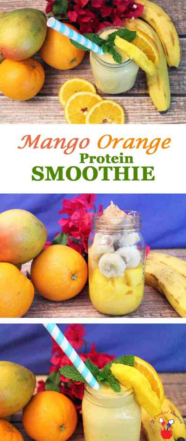 Mango Orange Smoothie   2 Cookin Mamas Our Mango Orange Smoothie has all the flavors of summer in a glass. Mangos, orange juice, bananas & protein combine to make the perfect smoothie for summer!