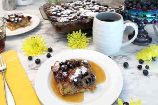 Blueberry French Toast Bake breakfast | 2 Cookin Mamas