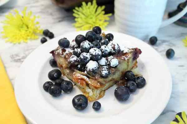 Blueberry French Toast Bake serving | 2 Cookin Mamas