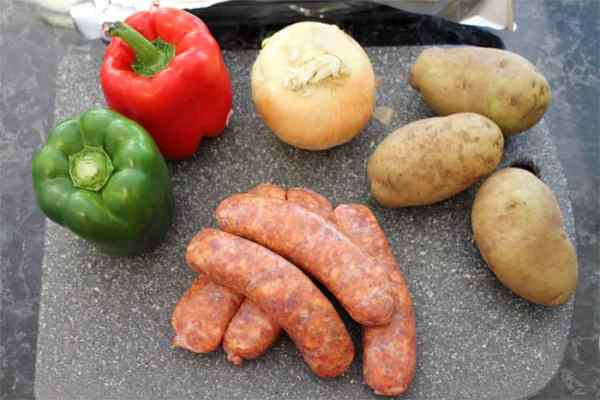 Sausage and Peppers Sheet Pan Dinner ingredients | 2 Cookin Mamas