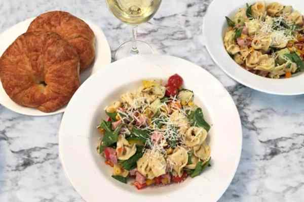 Garden Tortellini Salad with ham dinner | 2 Cookin Mamas