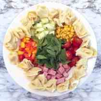 Garden Tortellini Salad with ham square | 2 Cookin Mamas