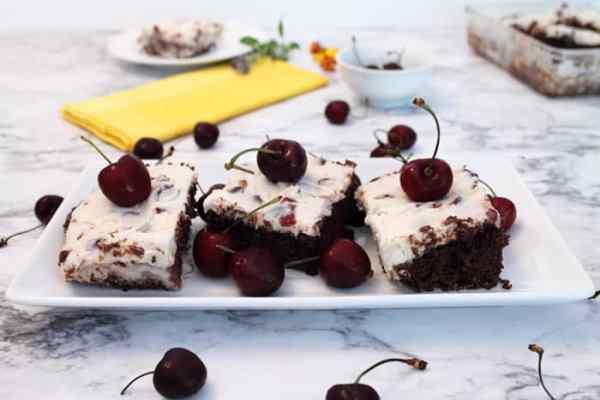 Black Cherry Brownies cut | 2 Cookin Mamas