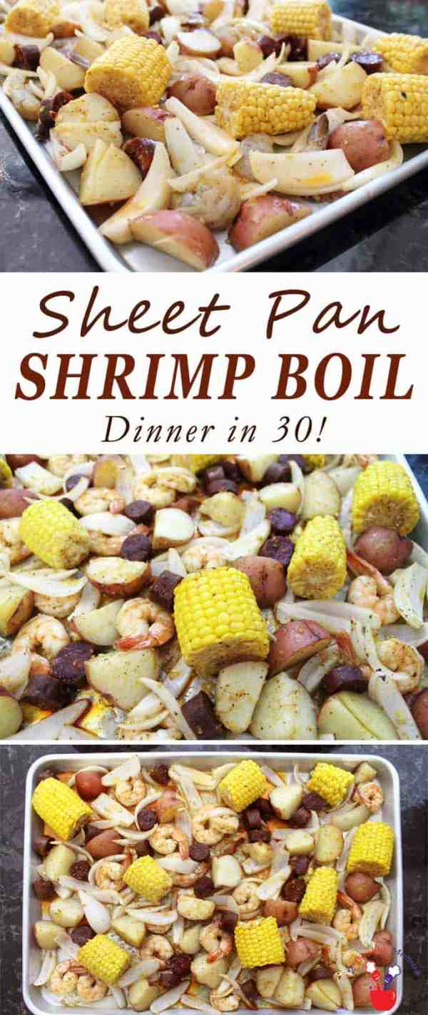 Sheet Pan Shrimp Boil Dinner | 2 Cookin Mamas This easy sheet pan shrimp boil dinner has all the flavors of an original boil - spicy shrimp, sausage, corn & potatoes, with less cleanup & done in 30.