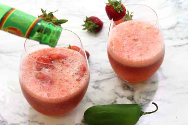 Strawberry Jalapeno Moscow Mule Slushie add ginger beer | 2 Cookin Mamas