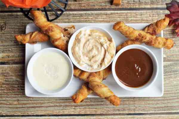 Apple Pie Twists dipping sauces overhead | 2 Cookin Mamas