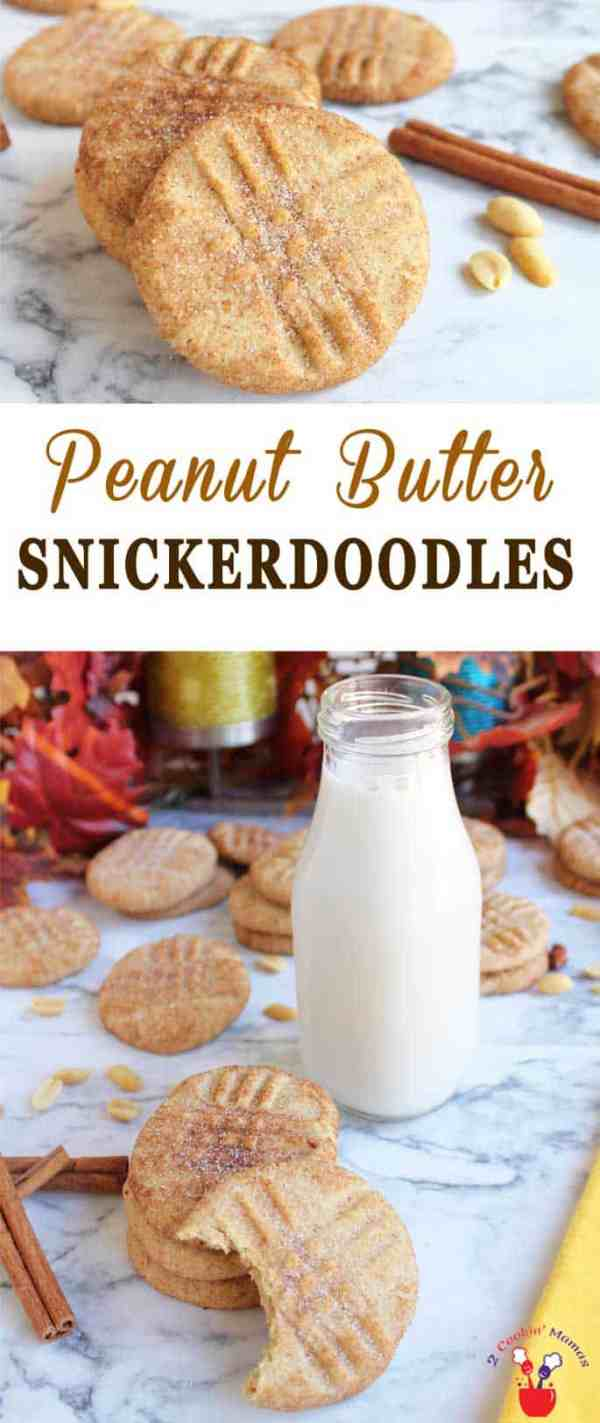Peanut Butter Snickerdoodles | 2 Cookin Mamas Peanut butter snickerdoodles bring the soft chewy goodness of peanut butter cookies to cinnamon-y snickerdoodles for a whole new taste sensation.#cookies #recipe #dessert