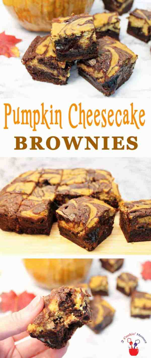 Pumpkin Cheesecake Brownies | 2 Cookin Mamas Our Pumpkin Cheesecake Brownies are your favorite chocolaty brownies accented with rich, creamy pumpkin cheesecake. It's the perfect fall treat! #dessert #recipe #brownies #fall