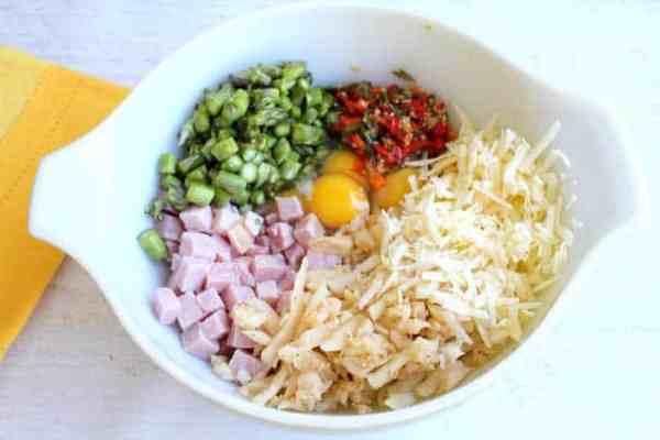 One Skillet Cheesy Ham Potato Bake ingredients | 2 Cookin Mamas