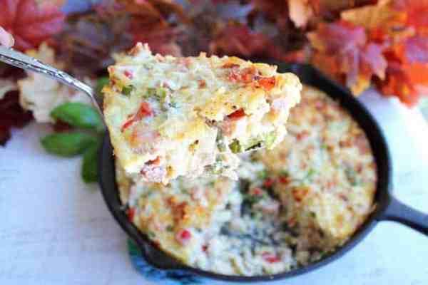 One Skillet Cheesy Ham Potato Bake serving | 2 Cookin Mamas
