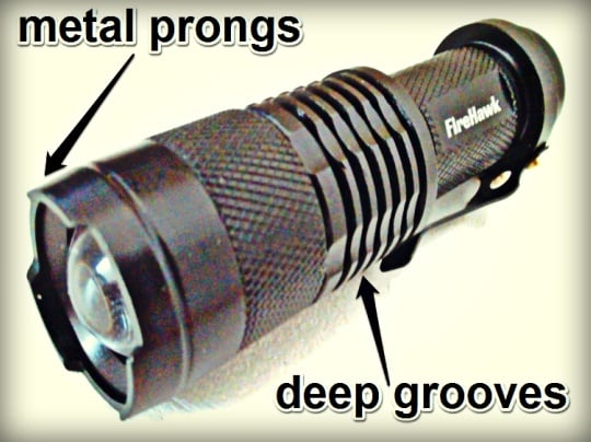 FireHawk Tactical Flashlight - Groove and Prongs