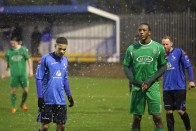TJ and a Thamesmead player get an early shower