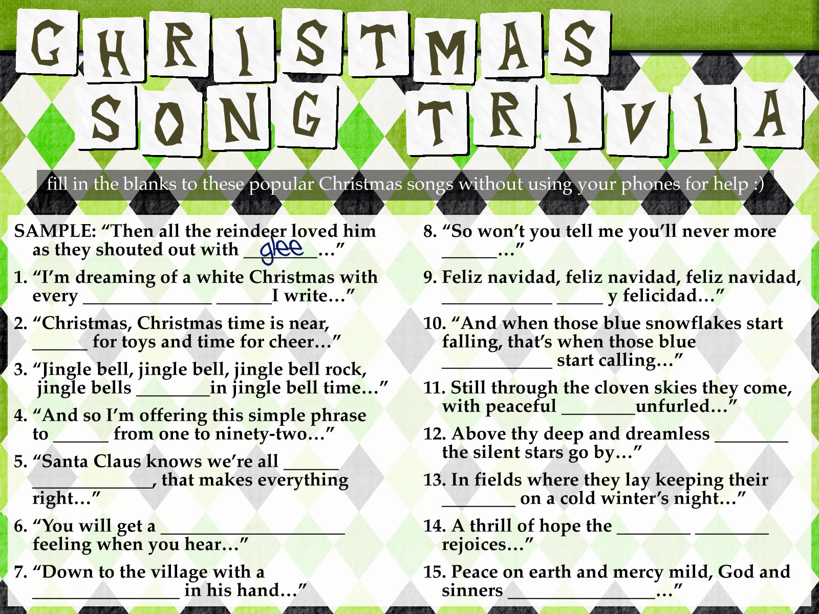 Freebie Christmas Song Trivia