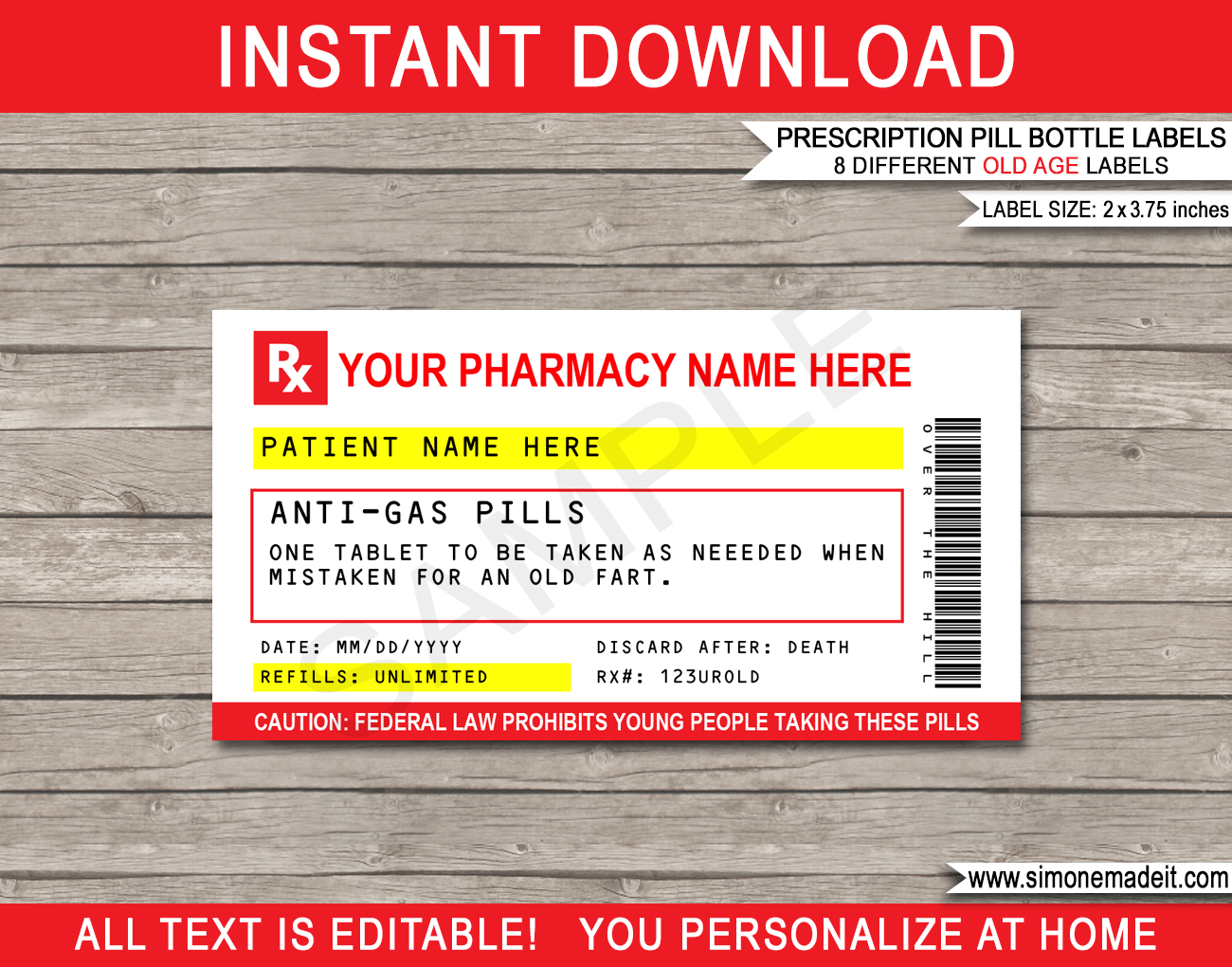 Prescription Labels For Skittles