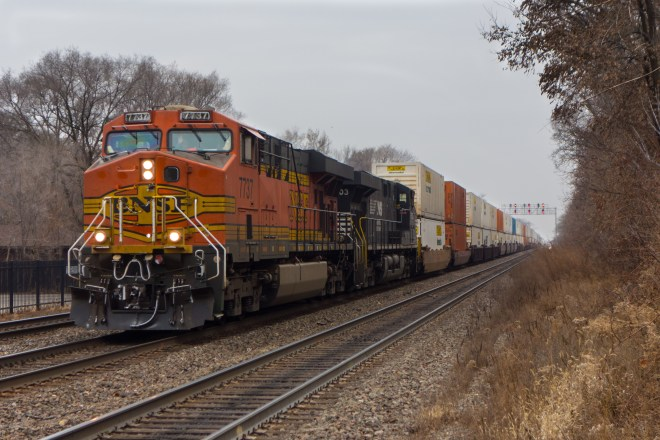 Chicago-bound BNSF stack train at Riverside, IL