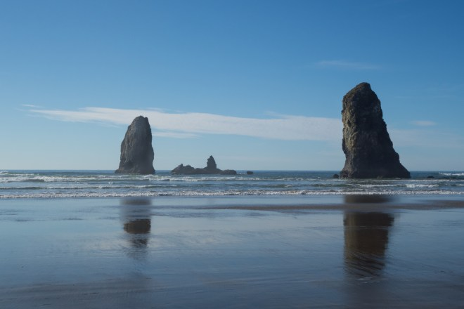 Outlying rocks near Haystack rock at Canon Beach