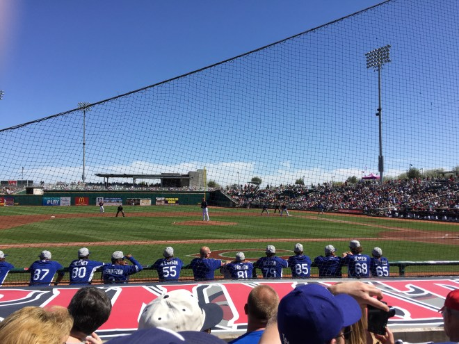 High number rookies checking out the veterans  in Goodyear, Arizona where the Dodgers faced the Cleveland Indians