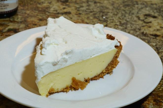 Slice of lemon pie for desert