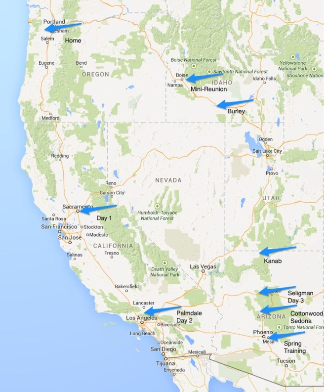Map overview of our Spring 2015 road trip
