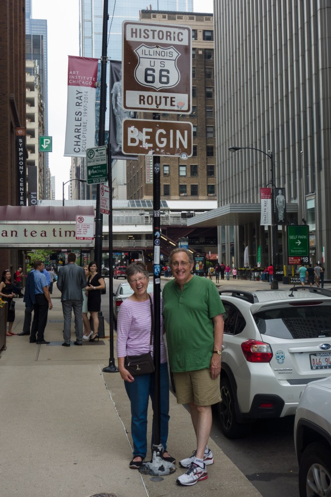 We made it! Carla and Howard at the Route 66 begin (end) on Adams near Michigan in Chicago