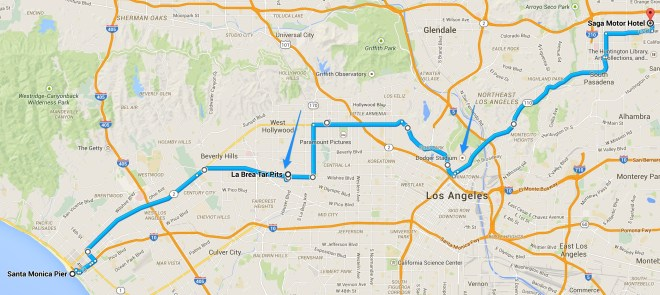 Map overview of the trip from Santa Monica to Pasadena via the La Brea Tar Pits