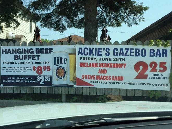 Hanging buffet ad in Minnesota.