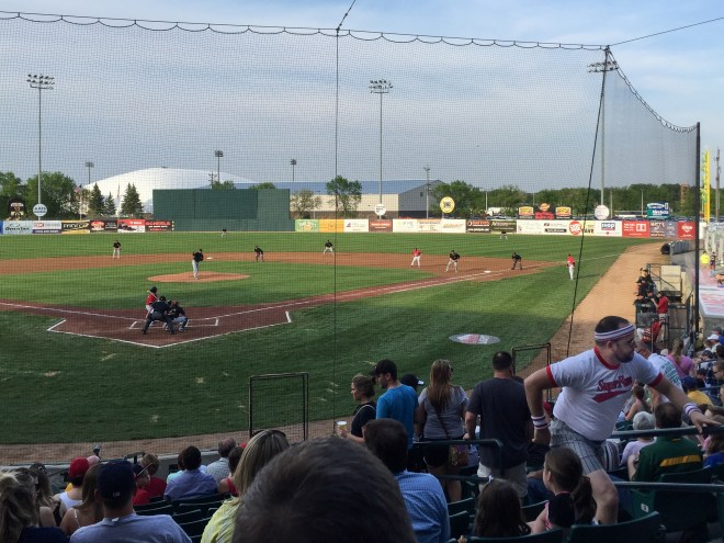 Baseball game with Super Fan in Fargo, North Dakota