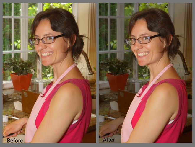 Before and After picture showing method to darken a background