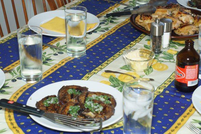 Portobello mushrooms and brined grilled chicken