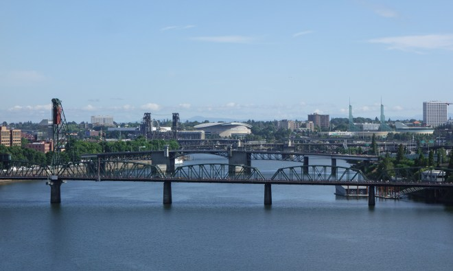Portland bridges looking north from the Marquam