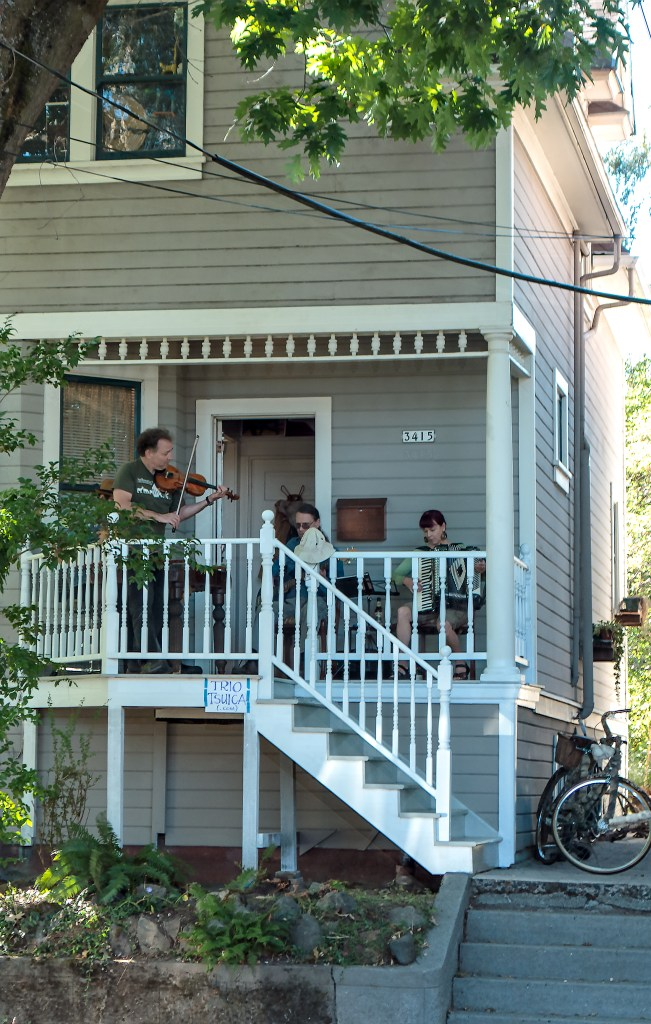 Trio Tsuica playing in a house on the  Portland Sunday Parkways - Southeast route