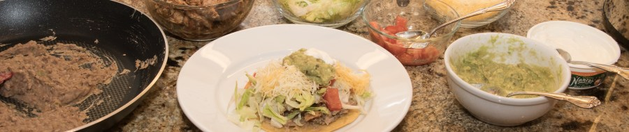 Chicken Tostadas with Refried Beans