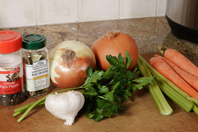 Chicken stock revisited ingredients (minus the chicken)