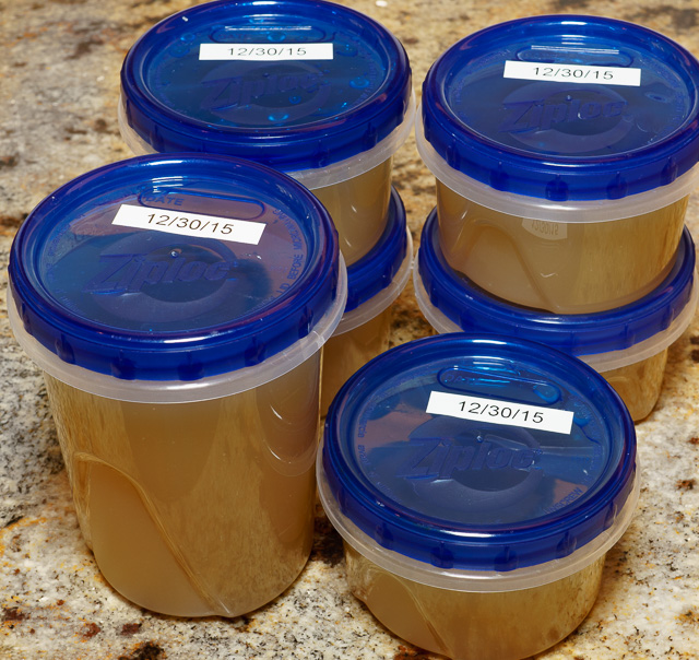 Chicken stock revisited - stock in containers