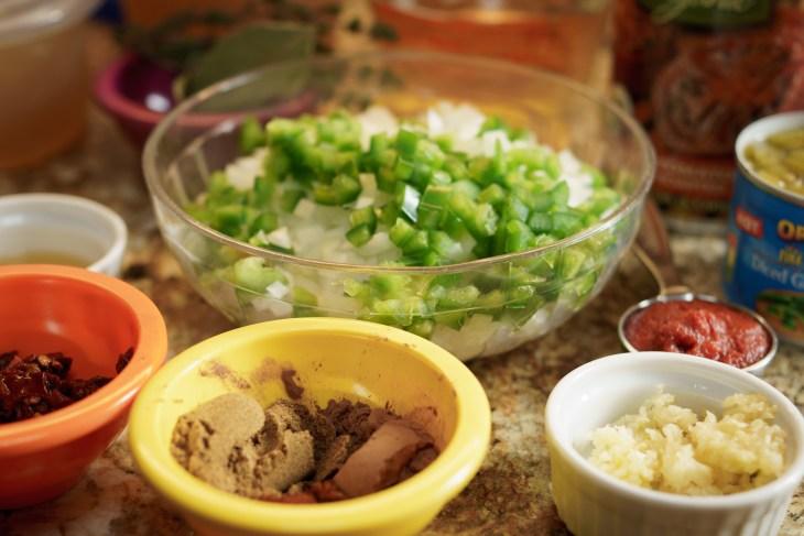 Mis en place for slow cooker chicken tortilla soup