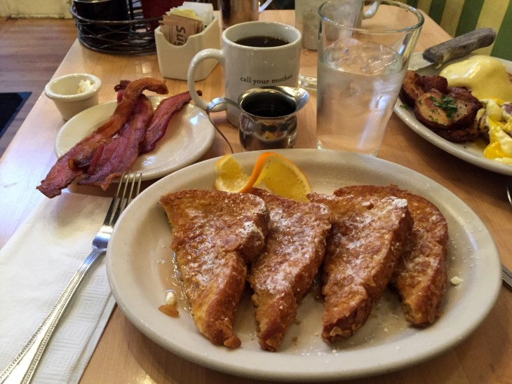 French toast and bacon at Mother's Bistro in Portland, Oregon