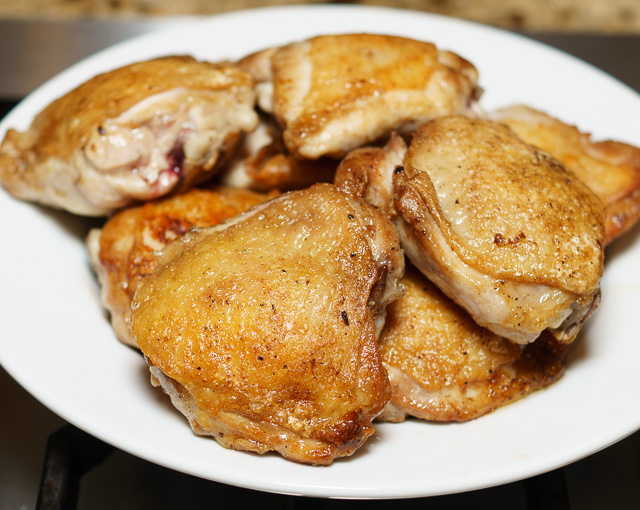 Browned chicken thighs for easy chicken stew