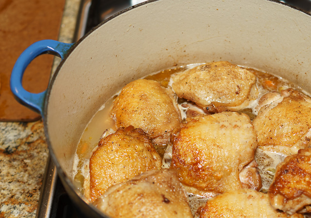 Easy chicken stew ready for braising