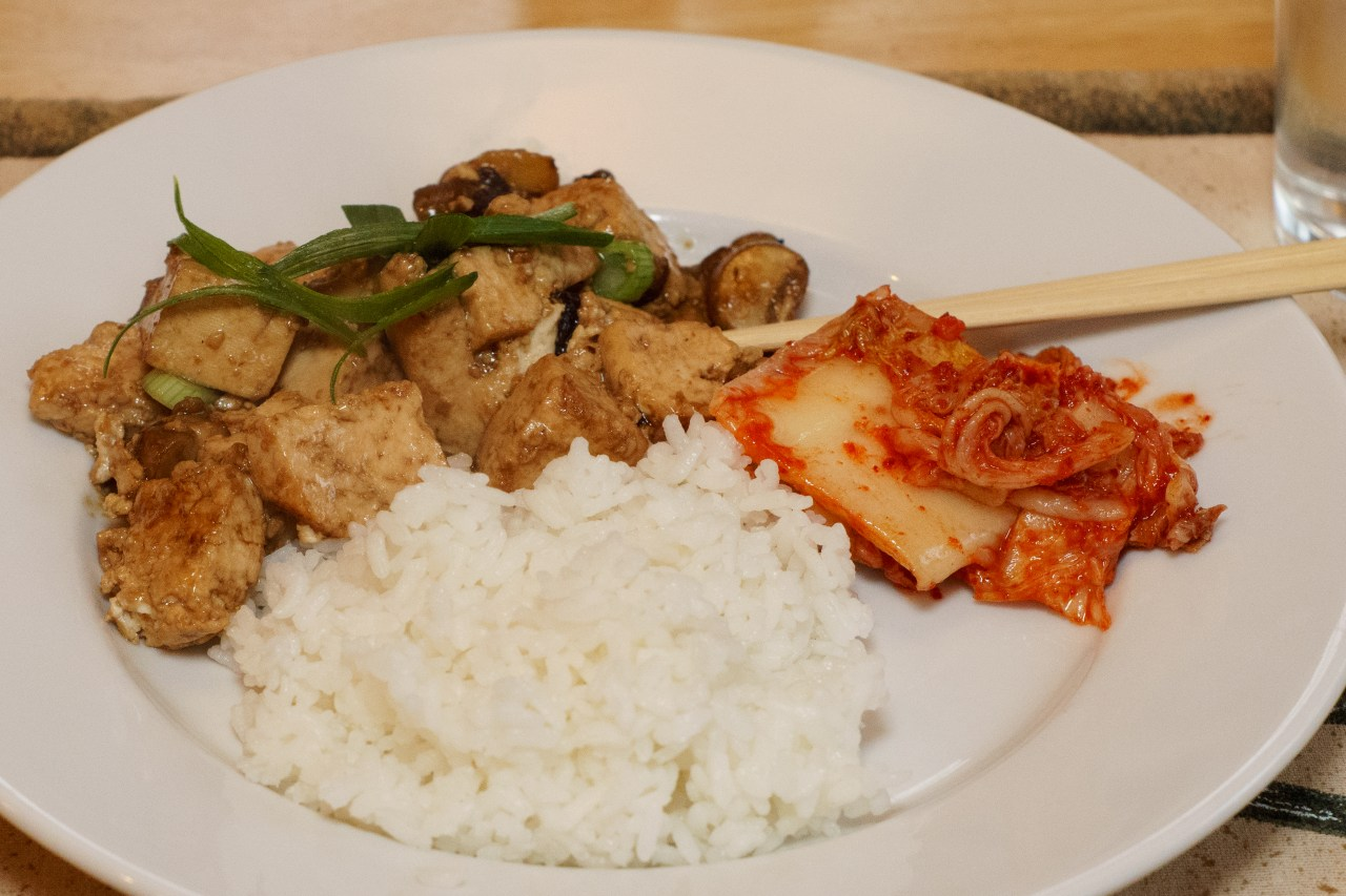 Dinner is served: Bean Curd (Tofu) with Oyster Sauce with rice and Kim Chi
