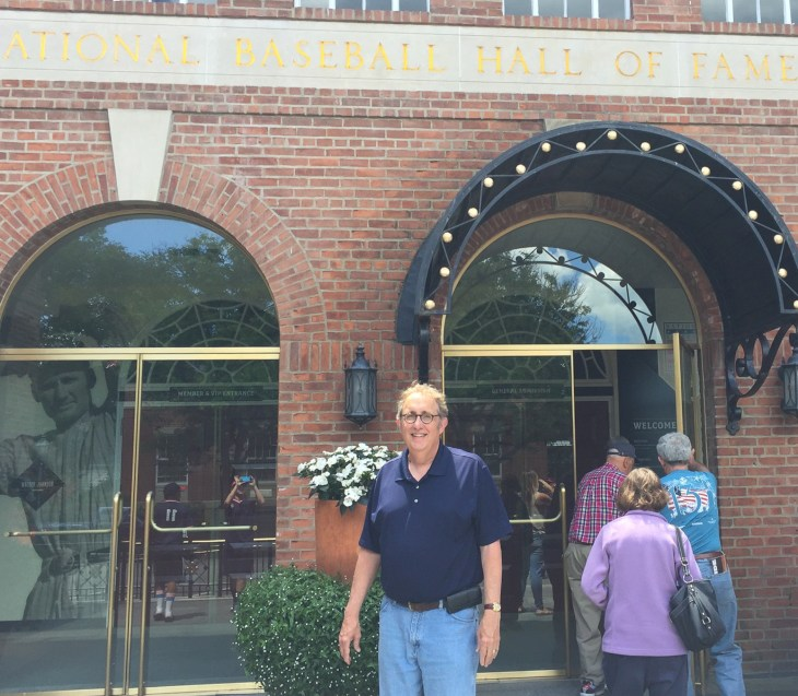 Me outside the National Baseball Hall of Fame in Cooperstown, New York