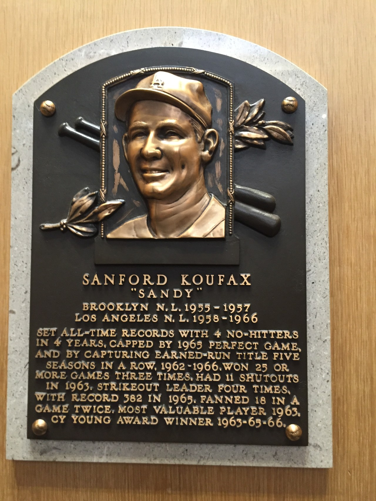 Sandy Koufax' plaque at the Hall of Fame