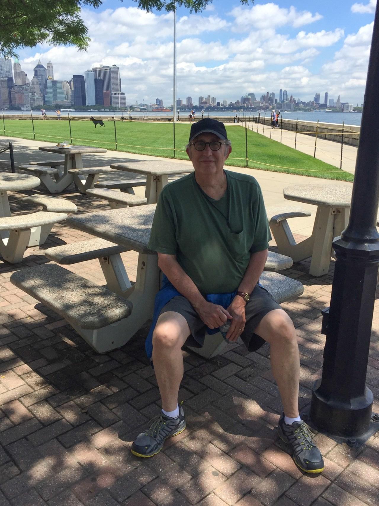 Howard resting at Ellis Island