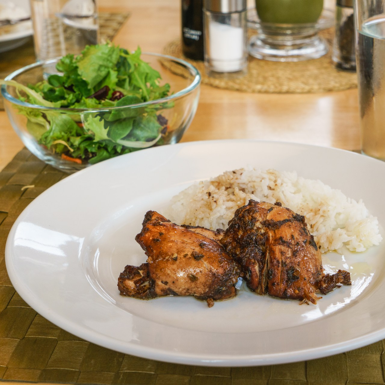 Dinner is served: Balsamic Chicken Thighs with rice and a salad