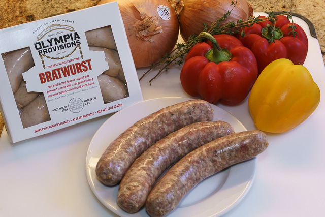 Ingredients for brats with peppers and onions