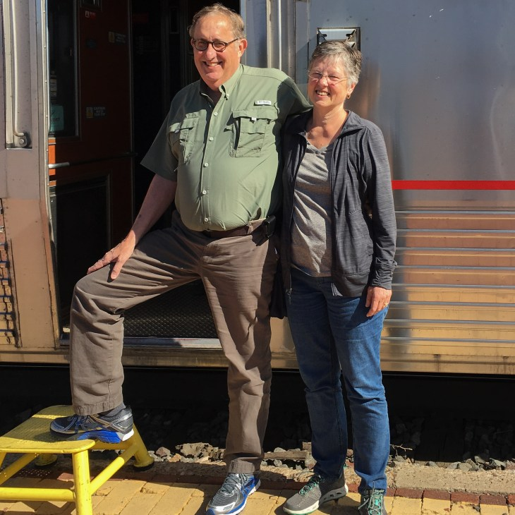 Your happy correspondent and wife re-boarding the Southwest Chief in Albuquerque, New Mexico